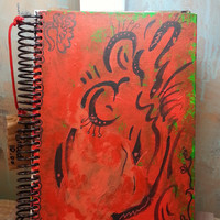 Abstract Art Mystery Notebook with handpainted cover