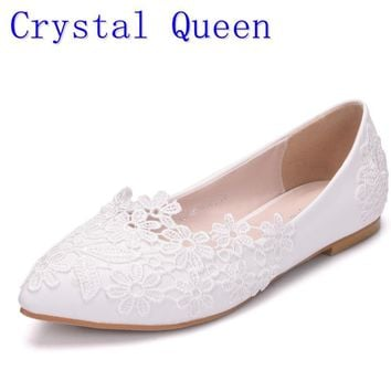 Crystal Queen Ballet Flats White Lace Wedding Shoes Flat Heel Casual Shoes  Pointed Toe