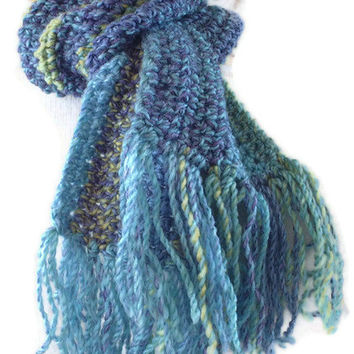 Hand Crochet Traditional Scarf with Fringe. Mens Chunky Scarf, Womens Crochet Scarf, Unisex, Fashion Accessories, Winter