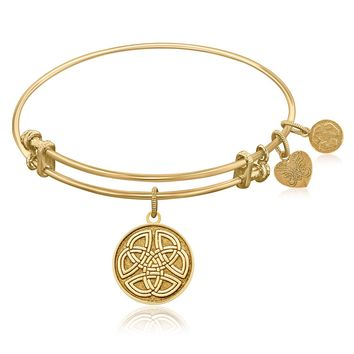 Expandable Bangle in Yellow Tone Brass with Celtic Round Completeness Symbol