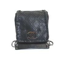 Authentic CHANEL leather 10 Series Flap Chain Shoulder Bag A 32453