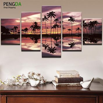 Modern Pictures Art HD Print Canvas Painting 5 Panel Sunset Glow Sea Coconut Trees Silhouette Landscape Home Decor Frame PENGDA