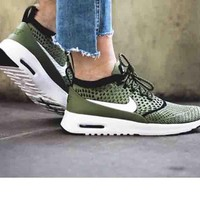 Nike Air Max Thea Ultra Flyknit Leisure Women Men Running Sneakers B-CSXY Army green