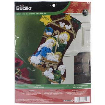 "Nativity Bucilla Felt Stocking Applique Kit 18"" Long"