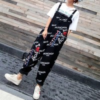 """Balenciaga"" Women Casual Fashion Sequin Cherry Letter Print Back Strap Wide Leg Pants Romper Jumpsuit Leisure Pants Trousers"
