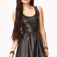 Faux Leather Fit & Flare Dress