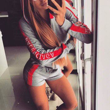 Splicing Letter Print Hoodie with Sports Shorts Two Pieces Set