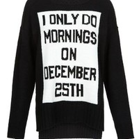 Black December 25th Slogan Christmas Jumper