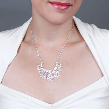 Sterling Silver Lace Necklace - Snow Flakes Necklace