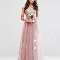 Chi Chi London Sweetheart Tulle Maxi Dress With Satin Bodice at asos.com