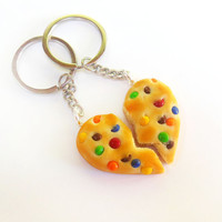 polymer clay heart shaped rainbow chip cookie best friend bff friendship key chains kawaii fimo