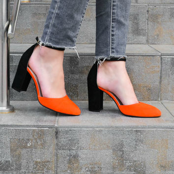 Kylie - Women's Handmade High Heel Orange Black Suede Leather Shoes, Closed Toe Pumps, Wedding Shoes, Casual Pumps, Free Customization