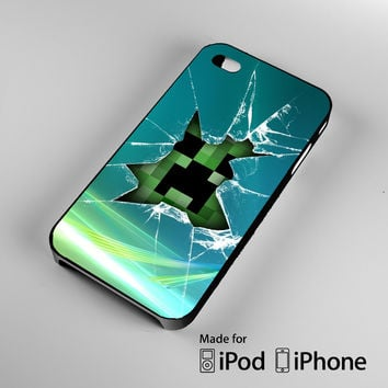 Minecraft Creeper Glass Broken A0100 iPhone 4 4S 5 5S 5C 6, iPod Touch 4 5 Cases