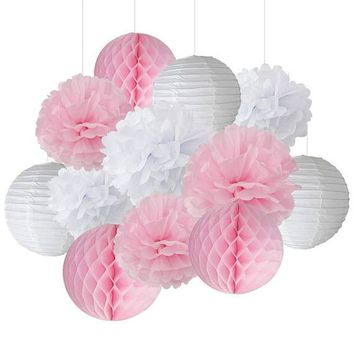 12PCS Mixed Pink White Party Tissue Pompoms Paper Lantern Honeycomb Flower Ball Girl Baby Shower Birthday Wedding Decoration