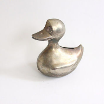 metal duck coin bank // vintage metal toy bank // animal children's bedroom decor