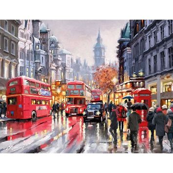 Frameless Romantic Bus Europe Landscape DIY Digital Painting By Numbers Modern Wall Art Hand Painted Oil Painting For Home Decor