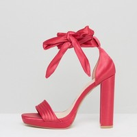 Coco Wren Tie Up Platform Sandals at asos.com