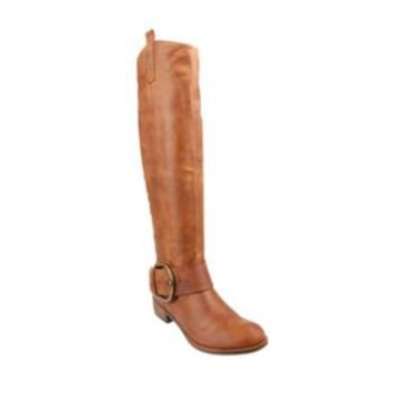 RUCKUSS COGNAC LEATHER women's boot mid riding boot - Steve Madden