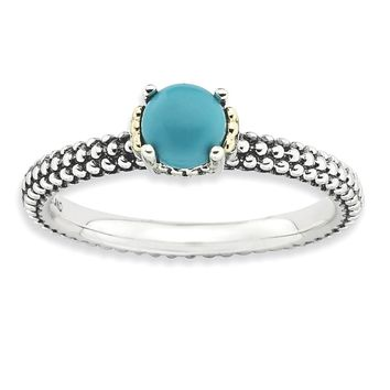 Antiqued Sterling Silver & 14K Gold Plated Stackable Turquoise Ring