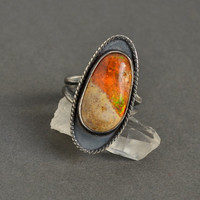 Mexican Fire Opal Ring in Sterling Silver, Cocktail Ring, Oxidized Ring, Hippie, Bohemian, Trendy Boho Ring, Organic Artisan Ring, OOAK