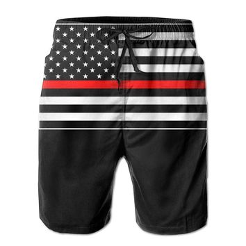 American Flag Thin Red Line Mens Fashion Casual Beach Shorts