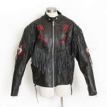 Vintage 1980s Leather Jacket - Black FRINGE Rose Suede Rocker Biker 80s - Large / XL