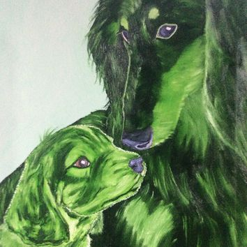 original 16x20 dog oil painting of a dash hound pup and mom