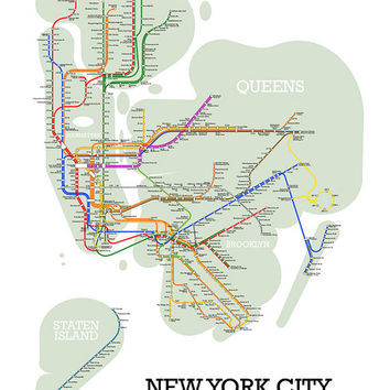 New York City Metro Subway Style Map Art Print