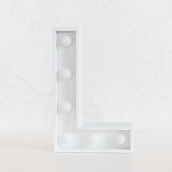 L Initial White Marquee Light