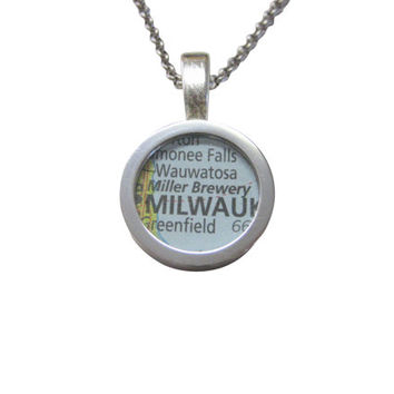 Miller Brewery Map Pendant Necklace