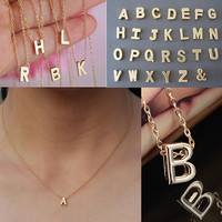2015 hot sell Women's Metal Alloy DIY Letter Name Initial Link Chain Charm Korean style Necklace 56A6