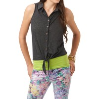 Cropped Tie-Front Heathered Tank - Aeropostale