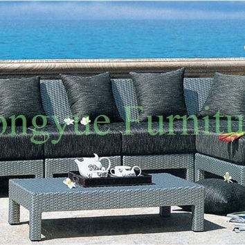 Outdoor corner rattan sofa furniture set with cushion and pillows