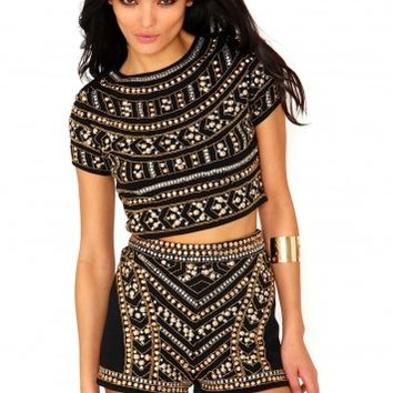 Missguided - Premium Embellished Crop Top In Black