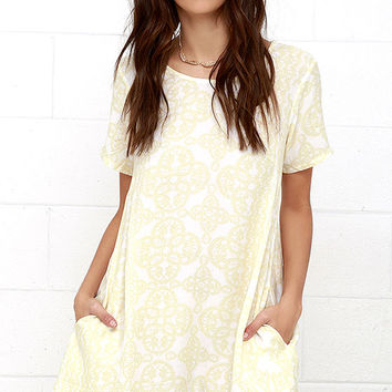 Obey Ursula Pale Yellow Print Shift Dress