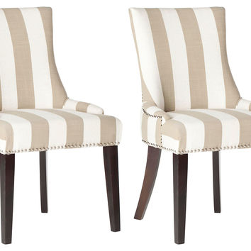 Taupe Lester Dining Chairs, Pair, Side Chairs