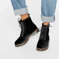 New Look Velvet Lace Up Ankle Biker Boots at asos.com