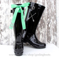 Custom Monogram Black Gloss Rain Boots with Silver  Arrows and Mint Bows
