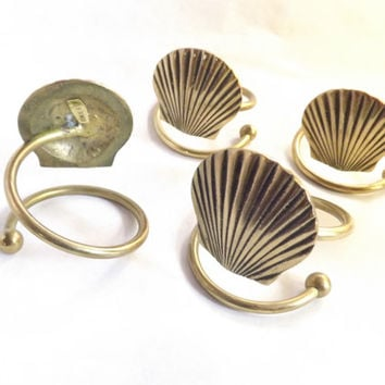 Brass Sea Shell Napkin Ring Holders, Set of 4, Vintage