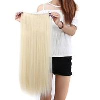"S-noilite Elegant 30""(76cm) Longest Straight Bleach Blonde 3/4 Full Head One Piece 5 Clips Clip in Hair Extensions Sexy Lady Fashion Choice Quality Guarantee"