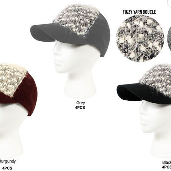 rampage women's fuzzy yarn boucle baseball cap Case of 48