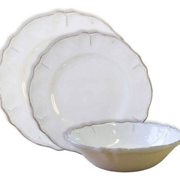 Le Cadeaux Rustica Antique White Melamine Dinnerware  sc 1 st  Wanelo & Shop White Dinnerware Sets on Wanelo