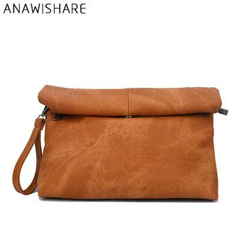*online exclusive* leather roll top wristlet clutch bag