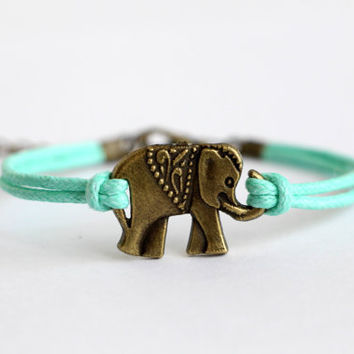 Antiqued Bronze Elephant Bracelet, Mint Green Wax Cords, Personalized Bridesmaid Jewelries, Graduation Birthday Friendship Gifts