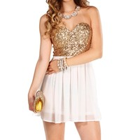 Gold/Ivory Strapless Sequin Tunic