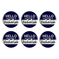 Zechariah Hello My Name Is Plastic Resin Button Set of 6