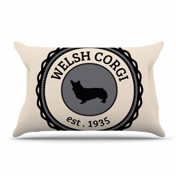 "KESS Original ""Welsh Corgi"" Beige Dog Pillow Case"