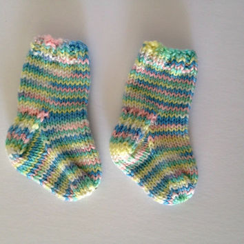 Knit baby socks, 6 months old, baby boy, knit socks, baby girl clothes, pastel socks, rainbow baby, baby shower, baby present, baby booties