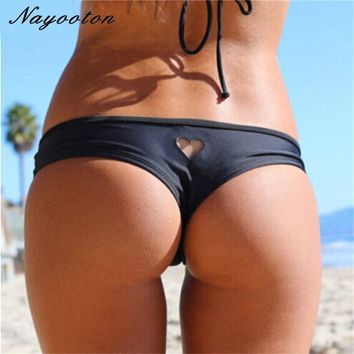 2018 new Heart T-Back Beachwear Bikini Bottom Swimwear bottom thong sexy mini string swimwear bikini swimsuit for women  biquini