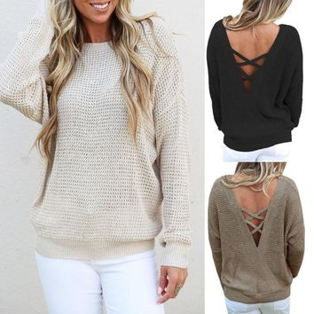 Waffle Weave Long Sleeve Backless Knit Sweater